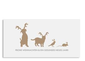 Weihnachtskarte Haustiere (Postkarte) Beige