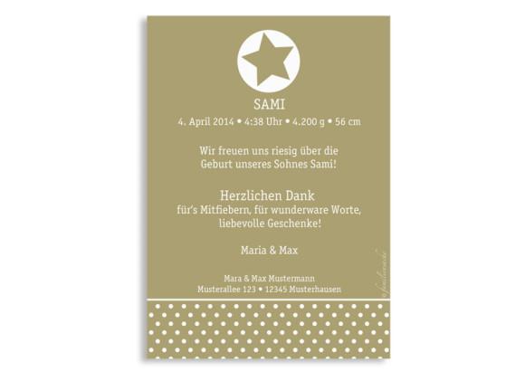 Geburtskarten, Motiv Sina/Sami, Rückseite, Farbversion: beige