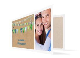 Einladung zum Geburtstag Wimpel (Klappkarte, mit 2 Fotos) Blau/Grün
