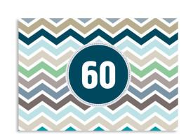 Einladungskarte ZigZag zum 60. Geburtstag Blau