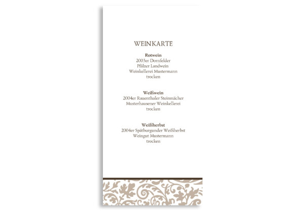 Menükarten zur Hochzeit Rokko Weiß (DIN Lang-Karte)
