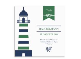 Einladungskarte zur Taufe Rike/Raik (quad. Postkarte) Grün