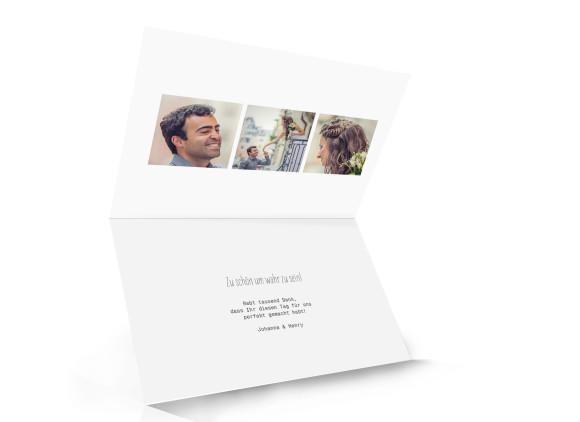 Danksagungskarten zur Hochzeit Blanche, Inmenansicht der Farbversion: weiß