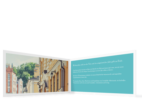 Firmen-Weihnachtskarten Nizza online gestalten, Innenansicht in Türkis