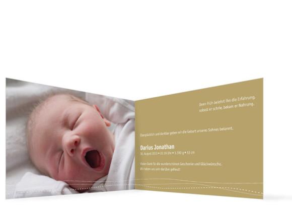 Innenansicht, Klappkarte zur Geburt, Motiv Deborah/Darius, Farbversion: beige