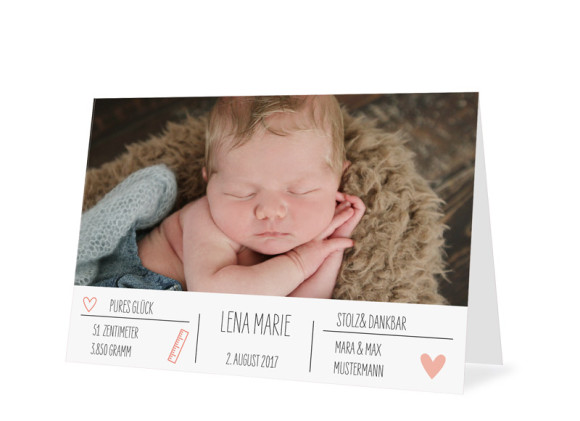 Danksagung zur Geburt Lena/Lars (Klappkarte)
