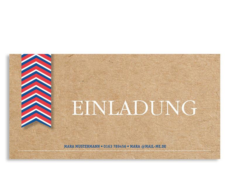 Geburtstagseinladungen Fähnchen (Postkarte) Blau/Rot