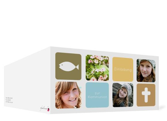Kommunionseinladung, Motiv Ava/Avery, Außenansicht, Farbversion: oliv