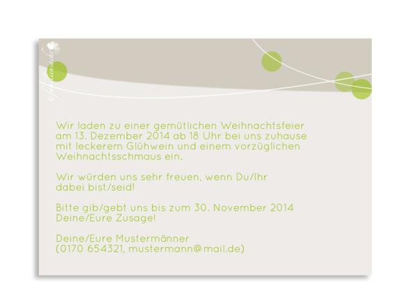 Rückseite, Einladungen zum Geburtstag Lampion, Farbversion: grün