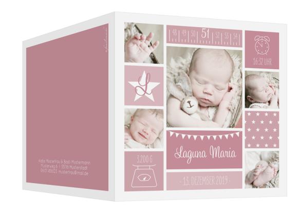 Geburtskarten mit vielen Fotos (Klappkarte, quadratisch), Motiv: Laguna/Leandro, Aussenansicht, Farbvariante: altrosa
