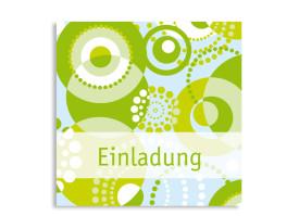 Geburtstagseinladung Dots Grün/Hellblau