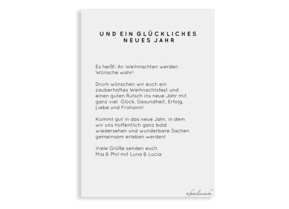 Postkarte zu Weihnachten mit Foto, Motiv: Wunsch, Rückseite, Farbvariante: schwarz