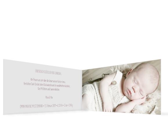 Geburtskarte (Klappkarte DIN Lang, ein Foto), Motiv: Emma/Emil, Innenansicht, Farbvariante: lila