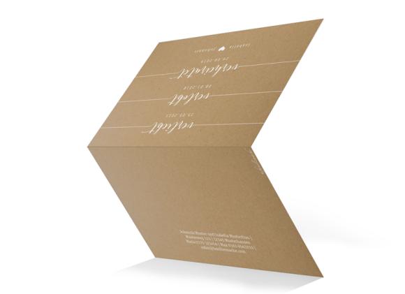 Hochzeitseinladung (Kraftpapier, Klappkarte A6), Motiv: Gent Natural, Aussenansicht, Farbvariante: weiss