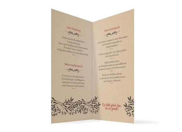 Speisenkarte Hirsch zur Hochzeit, Innenansicht in beige