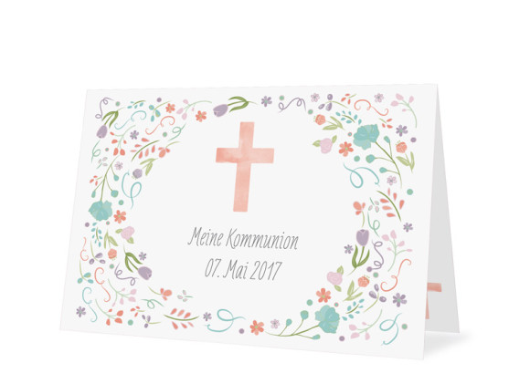 Danksagungskarten zur Kommunion Vintage Flower