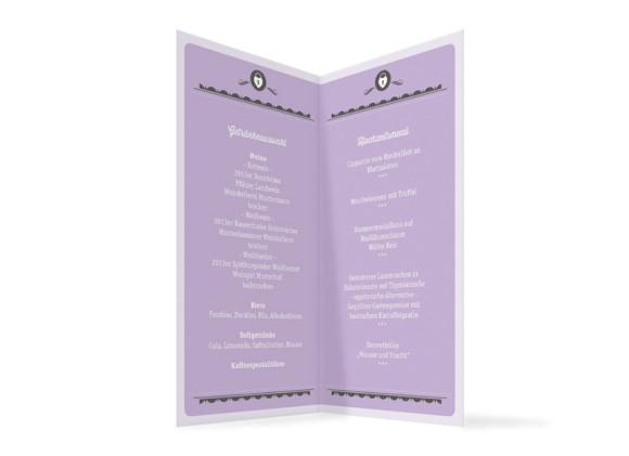 Menükarten Hochzeit Santa Rosa, Innenansicht der Farbversion: flieder