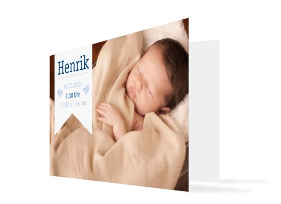 Geburtskarte Hanna/Henrik Fahne (Klappkarte, mit zwei Fotos)