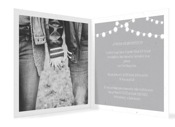 Einladung zur Hochzeit Lichterkette, Klappkarte quadratisch 150x150, Innenansicht in grau
