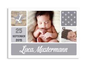 Geburtskarte Lucia/Luca (Postkarte) Grau
