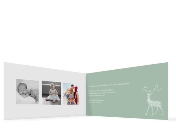 Innenansicht, Weihnachtskarte (Format DIN Lang), Motiv Holy Deer, Farbversion: graugrün