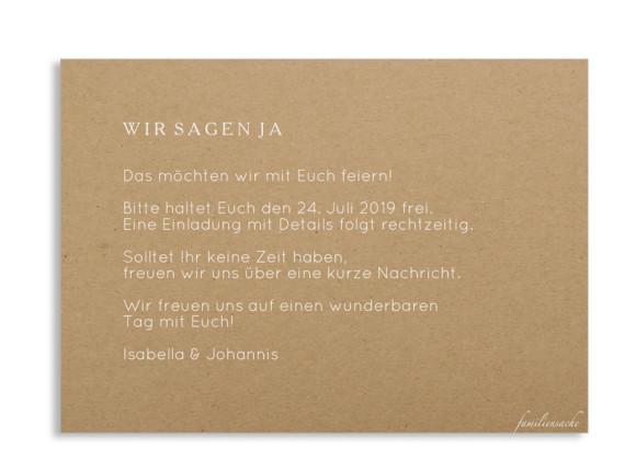 Save the date (Postkarte, Kraftpapier), Motiv: Malaga, Rückseite, Farbvariante: weiß