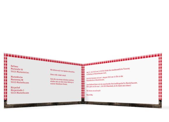 Innenansicht, Klappkarte zur Hochzeit (Format DIN Lang), Motiv Alpenglühen, Farbversion: rot