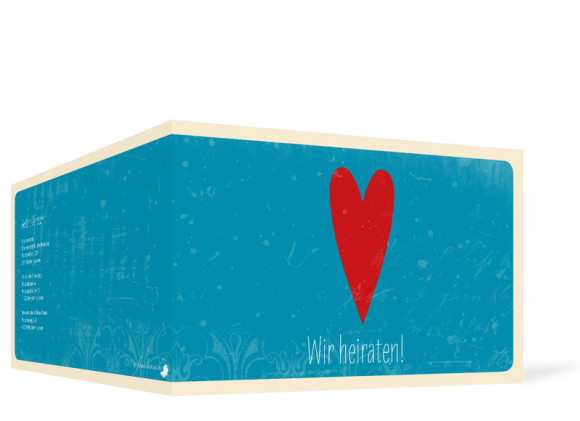 Hochzeitseinladung Vintage Heart, Aussenansicht, Farbversion: blau