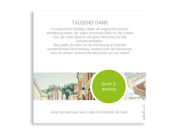 Danksagungskarten Circle zur Hochzeit, Rückseite in apfelgrün