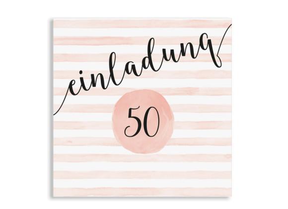 Einladung 50. Geburtstag Dots 'n Stripes