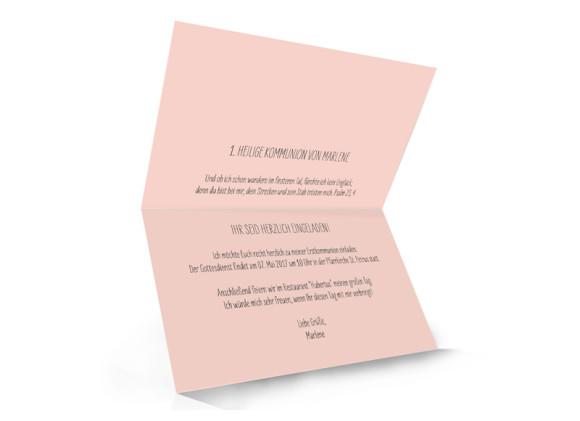 Einladung zur Kommunion, Motiv Lucky Stripes, Innenansicht, Farbversion:apricot