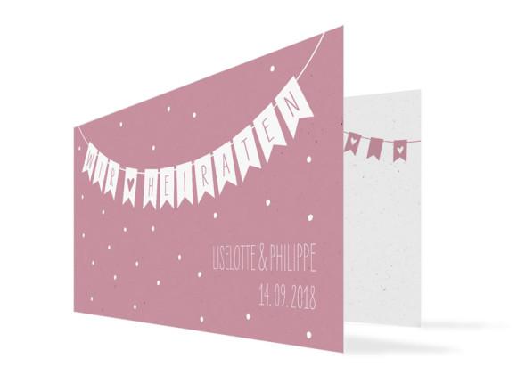 Einladung zur Hochzeit Wimpelkette ohne Foto (Klappkarte DL)