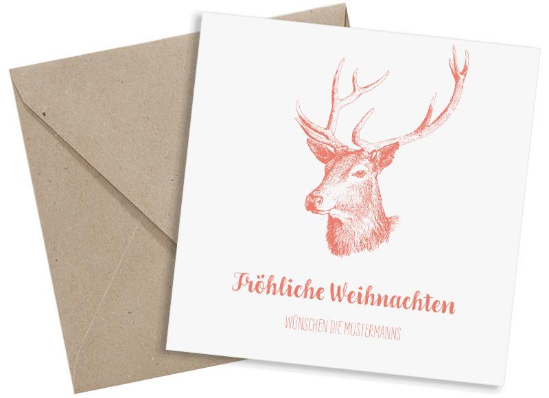 weihnachtsgr e pure deer quadratische postkarte mit 3 fotos. Black Bedroom Furniture Sets. Home Design Ideas