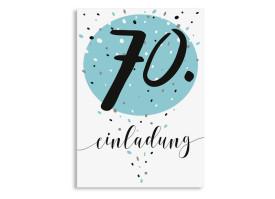 Einladung zum 70. Geburtstag Konfetti Aqua