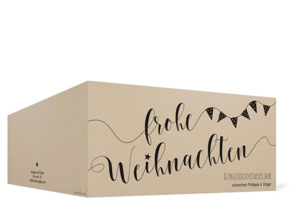 Foto-Weihnachtskarte (Klappkarte DL quer), Motiv: Weihnachtsparty, Aussenansicht, Farbvariante: schwarz