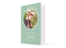 """Kommunionseinladung """"Henriette / Henry"""" (Klappkarte Hochformat mit Foto)"""