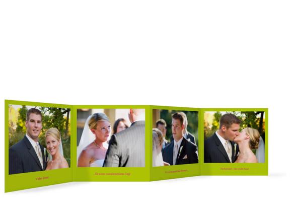 Innenansicht Foto-Leporello, Gastgeschenk, Motiv A+B, Farbversion: grün/pink