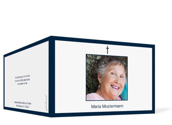 Danksagung Trauerkarten Rahmen in dunkelblau, Außenansicht