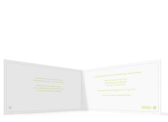 Geburtstagseinladung Karos, Innenansicht der Farbversion: hellgrün
