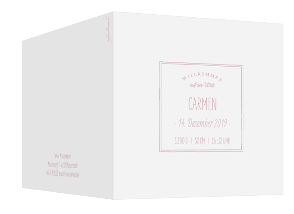 Dankeskarte Geburt (Klappkarte quadratisch, vier Fotos), Motiv: Carmen/Campino, Aussenansicht, Farbvariante: altrosa