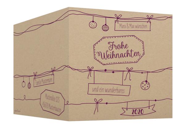Klappkarte Weihnachtskarte, Motiv: Sketchy, Aussenansicht, Farbvariante: aubergine