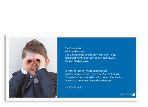 Kommunionsdanksagungen Nora/Neo, Rückseite der Farbversion: blau