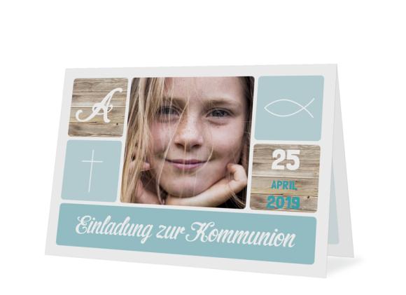 """Einladungskarte zur Kommunion """"Lucia / Luca"""" (Klappkarte)"""