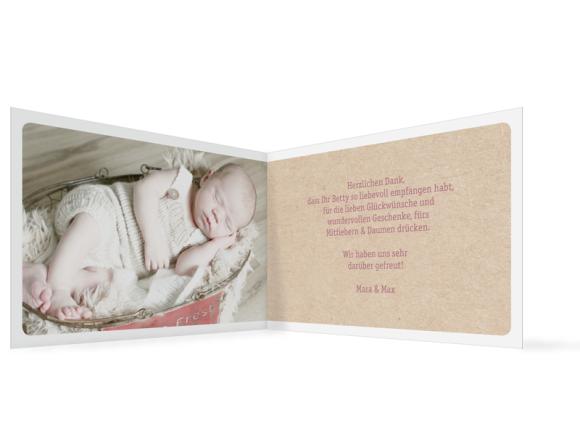 Geburtskarte (Klappkarte A6, 3 Fotos), Motiv: Betty/Boris, Innenansicht, Farbvariante: altrosa