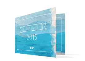 Neujahrskarten Horizont (Klappkarte)  Blau