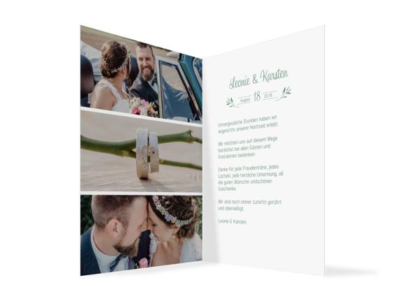 Hochzeitsdanksagungen (Klappkarte C6), Motiv: Blätterkranz, Innenansicht, Farbvariante: gruen