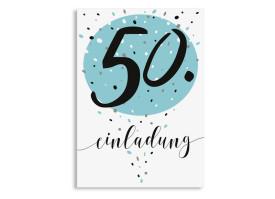 Einladung zum 50. Geburtstag Konfetti Aqua