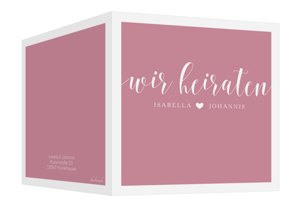 Einladungskarten zur Hochzeit (quadr. Klappkarte), Motiv: Porto, Aussenansicht, Farbvariante: altrosa