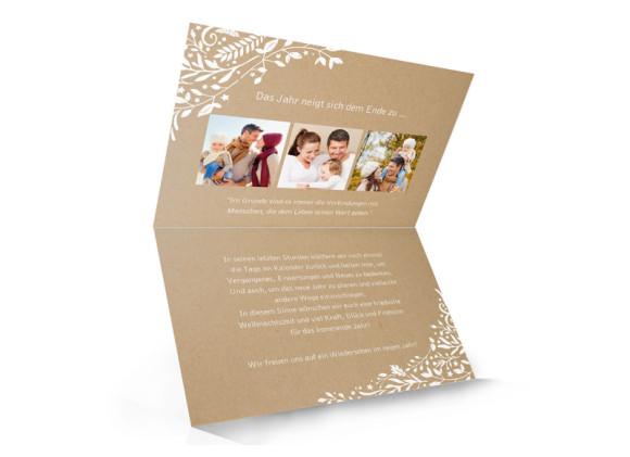 Weihnachtskarten Naturkraft Packpapier selbst gestalten, Innenansicht in Weiß