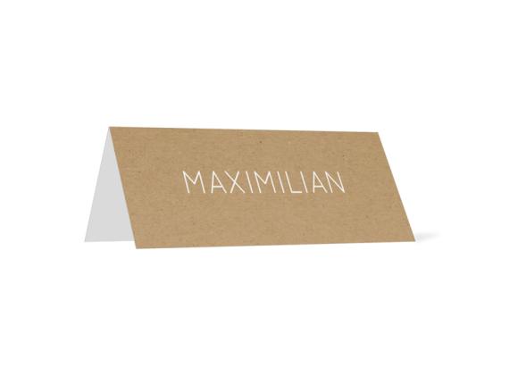 Tischkarten (Kraftpapier, personalisiert), Motiv: Malaga, Rückseite, Farbvariante: weiß